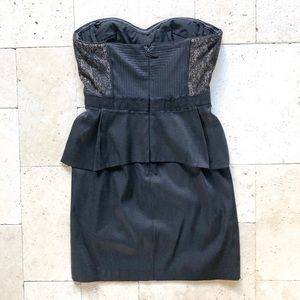 BCBGMaxazria Moselle Black Short Peplum Dress